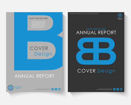 Blue letter annual report cover design template vector. Brochure concept presentation website portfolio. White layout leaflet template. Magazine business advertising set black poster A4 size illustration Illustration
