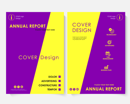 Yellow square annual report cover design template vector. Brochure concept presentation website portfolio. Violet layout leaflet template. Magazine business advertising set. Poster A4 illustration
