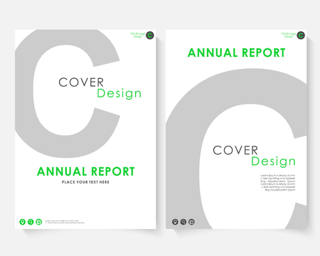Gray letter annual report cover design template vector. Brochure concept presentation website portfolio. White layout leaflet template. Magazine business advertising set black poster A4 size illustration