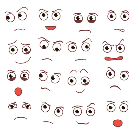 Vector smile day, creative cartoon style smiles with different emotions.
