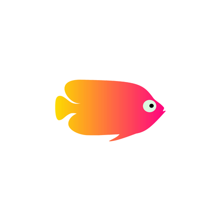 Yellow red fish vector illustration icon. Aquarium fishes flat style isolated on white background. Tropical, sea, fish color flat design