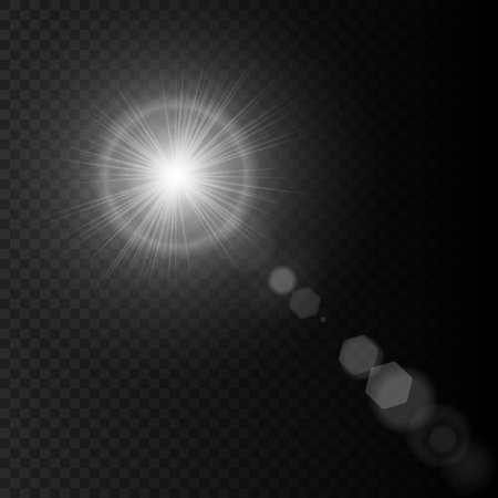 Summer white sun lens flare with realistic lights glow on black background, star lens flares. Transparent sunlight effect rays. Vector illustration eps10