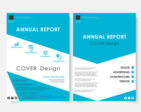 Blue cover design template vector. Brochure concept presentation website portfolio. White annual report layout leaflet template. Magazine business advertising set. Marketing poster A4 size illustration