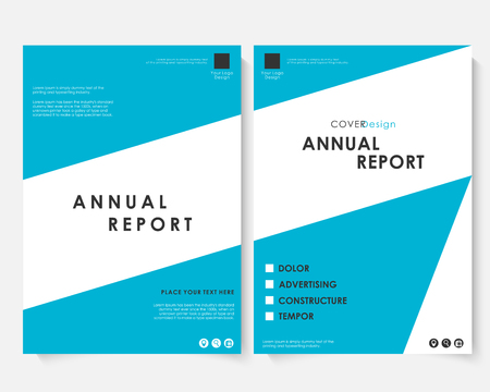 Annual report cover design template vector. Brochure concept presentation website portfolio. Blue layout leaflet template. Magazine business advertising set. Poster A4 size illustration