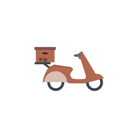 Delivery service on scooter, motorcycle. Fast worldwide shipping vector illustration