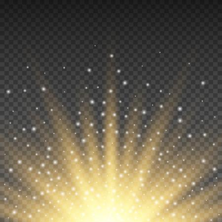 ゴールドの輝く光は、透明な背景に爆発をバーストしました。明るい黄色の輝きと光線効果装飾をフレアします。透明な輝きのグラデーションのま