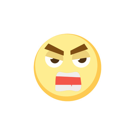 Yellow evil emoji icon for app game, ui or web design template. Vector emotion sign face eps10 Illustration