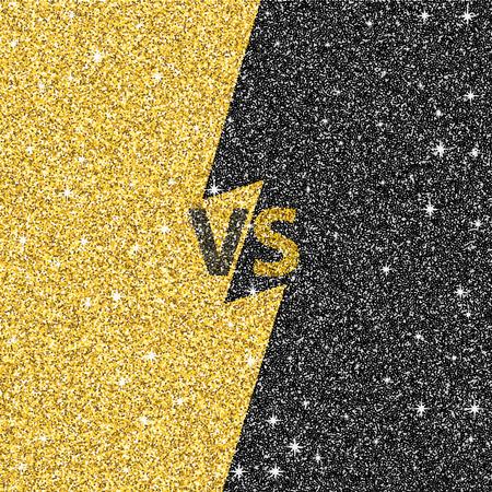 Versus glitter letters. Black and gold VS text. Vector illustration eps10