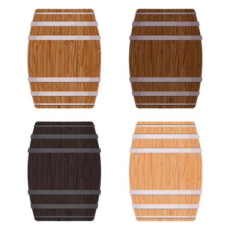Wooden barrel with iron rings. Isolated on white background. Vector wood beer barrel eps10