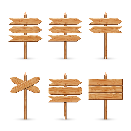 Wooden arrow signs board set. Vector illustration wood signboards plank road