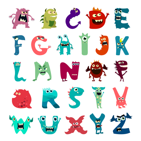 Cartoon flat monsters alphabet big set icons. Colorful monster kids toy cute monsters tongue. Vector EPS10 Illustration