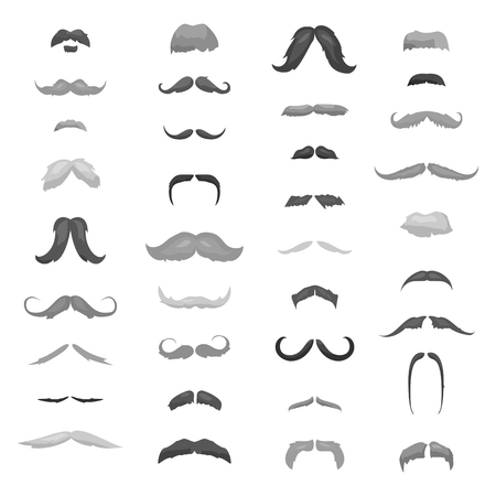 chaplin: Huge collection mustache retro curly set. Mustache different colors and forms hair. Mustaches barber silhouette hairstyle hipster mask disguise. Vector gentleman hair