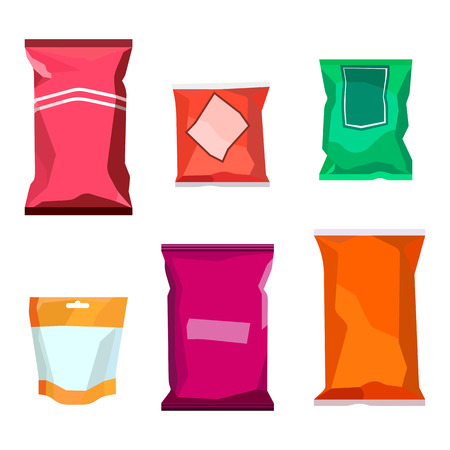 Colorful blank boil food snack packaging for chocolate cookies, sweets, sugar, pepper, coffee, spices, salt, chips mockup template isolated on white background. Vector EPS10 Illustration