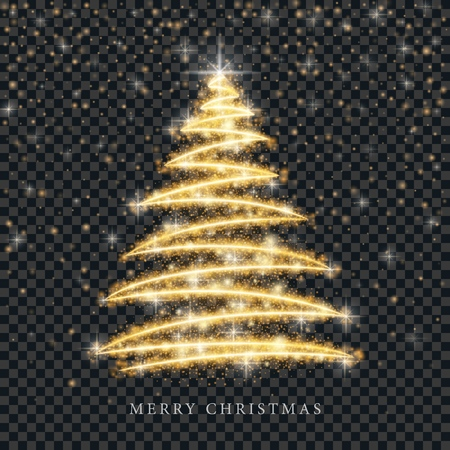Stylized gold Merry Christmas tree silhouette from shiny circle particles on black transparent background. Vector golden christmas fir illustration eps10 일러스트