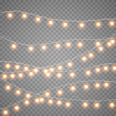 Christmas gold garlands isolation on dark transparent background. Xmas realistic overlay yellow lights card. Holidays decorations bright lamps. Vector gloving garland illustration