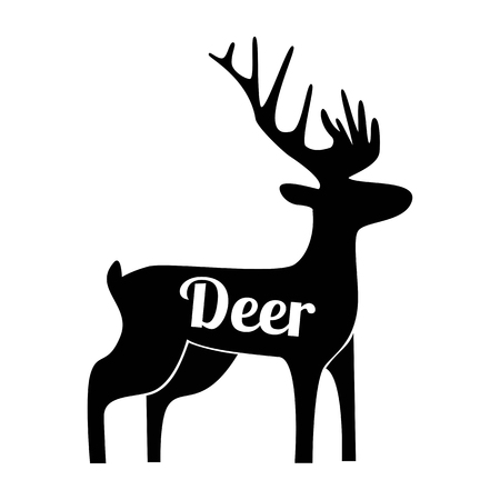 Deer black logo silhouette Vector illusration