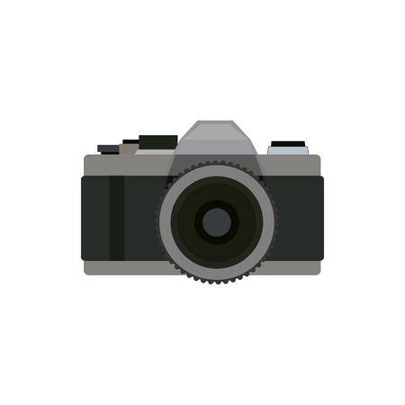 Old photo camera flat icon symbol in front view. Vector professional photographer equipment