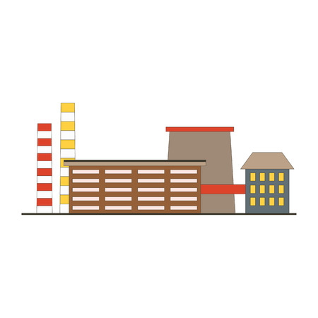 Factory building game app icon in flat style. Manufacturing industrial factory  concept isolated on white background. Vector illustration Illustration