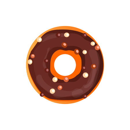 Donut illustration. Donut isolated on a light background. Donut icon in a flat style. Donuts into the glaze set. Collection of sweet donuts isolated. Donuts icing sugar.