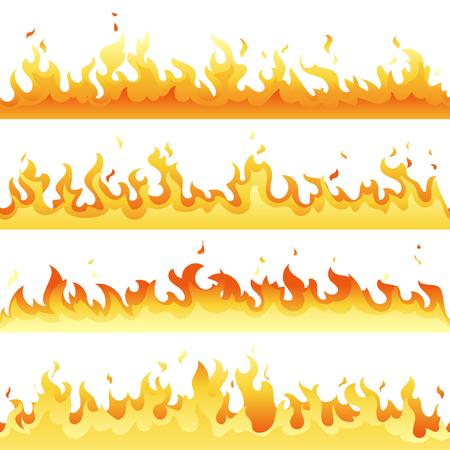 Insieme della fiamma del fuoco caldo senza cuciture, raccolta della luce del fuoco del pericolo isolata su fondo bianco. Illustrazione vettoriale di fiamma rossa e gialla eps10