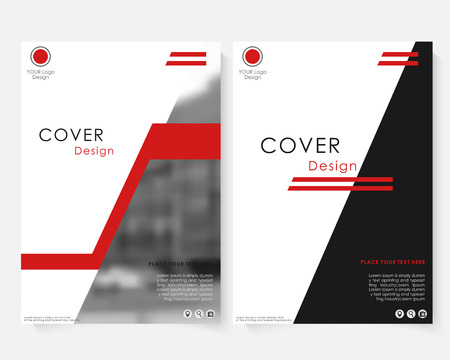 Green square annual report cover design template with blurred photo. Brochure concept presentation website portfolio. Keynote layout leaflet template. Magazine business advertising set. Poster A4 size