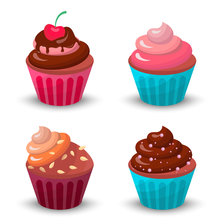 Sweet food chocolate creamy cupcake set isolated vector illustration Illustration