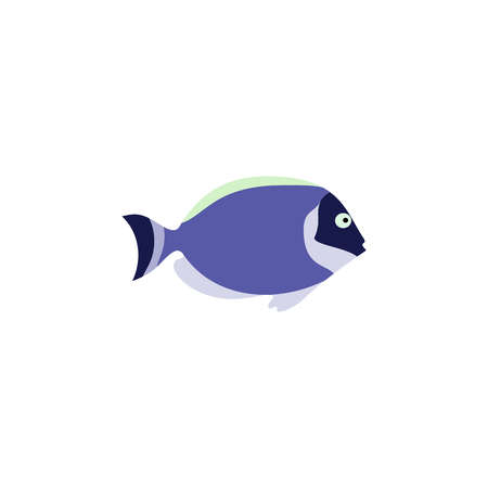 Cute fish vector illustration icons set. Fish flat style vector illustration. Fish icons isolated. Tropical fish, sea fish, aquarium fish set isolated on white background. Sea color flat design fish Illustration