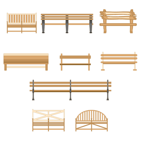 Wooden One Park Outdoor Bench Isolated on White Background. Vector EPS10