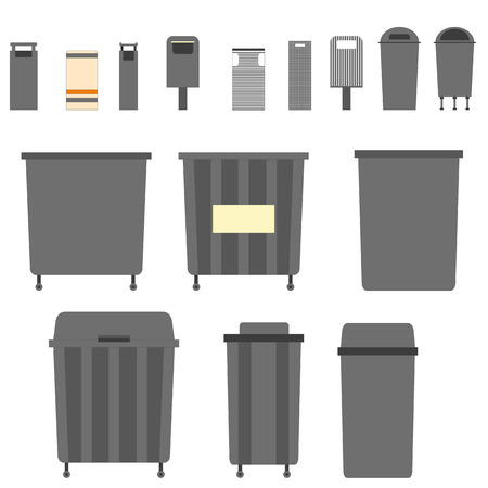 Waste can of garbage types. Container bin management and recycle concept with organic, paper, plastic, glass, metal, e-waste and mixed waste. Trash types separation of waste. Sorting waste recycling. Vector rubbish