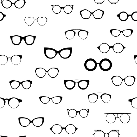 Seamless retro glasses. Sunglasses black silhouettes. Eye glasses icon. Vector illustration. Illustration