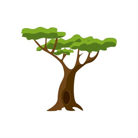 Stylized green tree. Cartoon isolated Vector illustration.