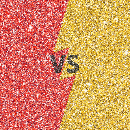 Versus glitter letters. Black and gold VS text. Vector illustration