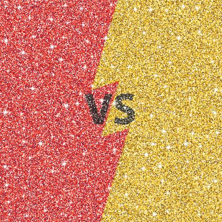 Versus glitter letters. Black and gold VS text. Vector illustration