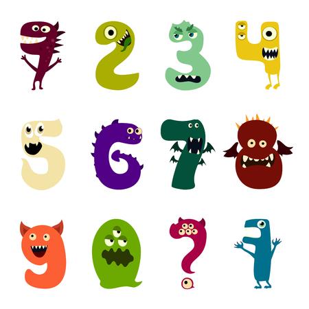Cartoon flache Monster nummerieren große Set-Symbole. Bunte Monsterkinder spielen süße Monsterzunge. Vektor-EPS10