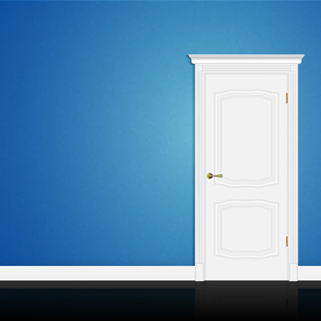 Blue wall abstract geometrical design with closed entrance white door in interior. Vector 3d illustration Illustration