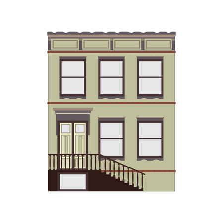 Beautiful detailed linear cityscape collection with townhouses. Small town street with victorian building facades. Template for web, graphic, game and motion design. Vector illustration Illustration