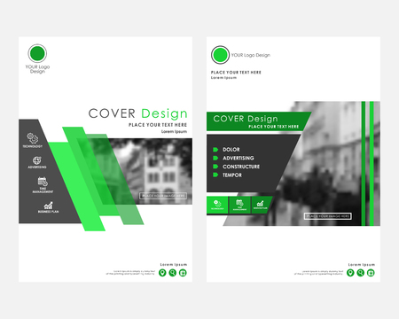 Green square annual report cover design template with blurred photo. Brochure concept presentation website portfolio. Vector layout leaflet template. Magazine business advertising set. Poster A4 size