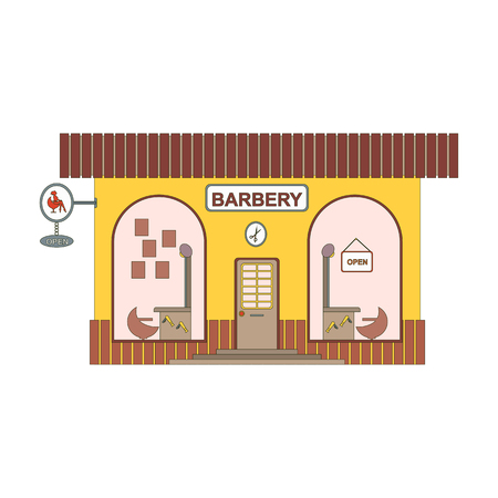 Barbery shop cartoon icon in flat style. Barber showcase on city streets. Design element for past in the game or ui app. Vector illustration