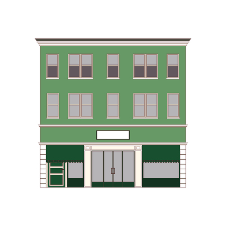 Beautiful detailed cityscape townhouse. Small town street with victorian building facades. Template for web, graphic, game app and motion design. Vector illustration EPS10