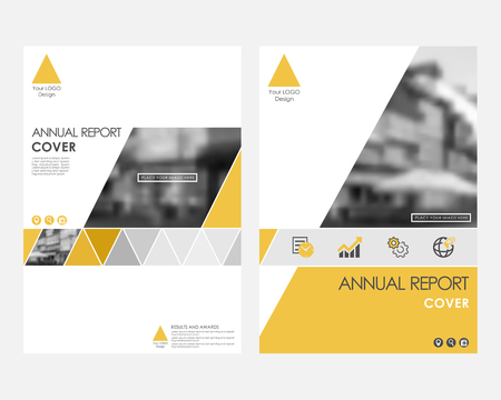Yellow infographic cover design template for annual report vector. Flyer, leaflet magazine brochure set. Corporate layout page. roadmap ads Illustration