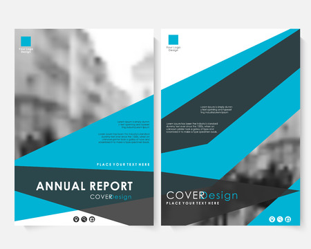 Blue annual report cover design template with blurred photo. Brochure presentation website portfolio vector. Color layout leaflet template. Magazine business advertising set. Poster A4