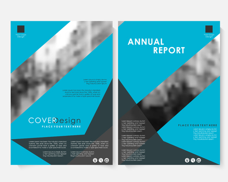 Blue geometric vector annual report cover design template with blurred photo. Brochure concept presentation website portfolio. Colorfull layout leaflet template. Magazine business advertising poster