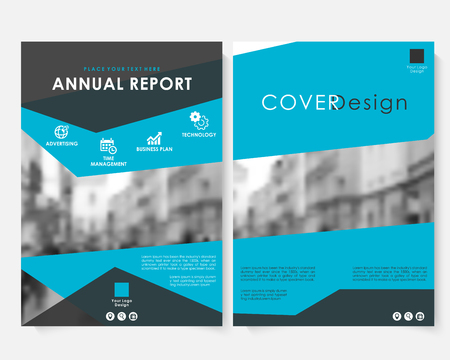 Blue marketing cover design template for annual report vector. Modern minimalist business concept booklet. Flyer, leaflet magazine brochure with text. Corporate layout page A4 advertising Illustration