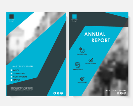 Blue square annual report cover design template with blurred photo vector. Brochure concept presentation website portfolio. Keynote layout leaflet template. Magazine business advertising poster A4