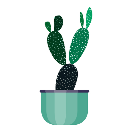 Green house plant in pot. Leaf cactus flower flat style. Vector illustration flowerpot isolated on white