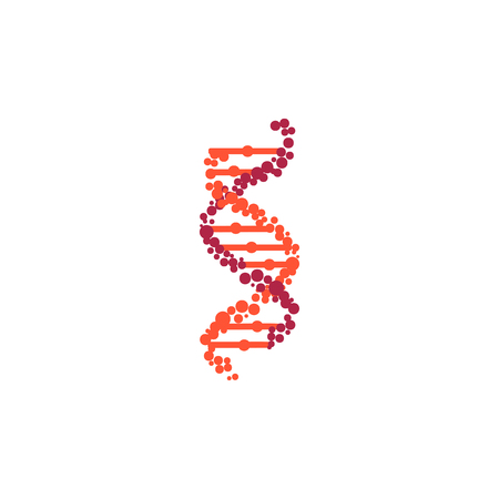 DNA molecule sign, genetic elements and icons collection strand. Vector