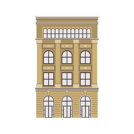 Belle maison de ville détaillée de paysage urbain. Petite rue de ville aux façades de bâtiments victoriens. Modèle pour le web, le graphisme, l'application de jeu et la conception de mouvement. Illustration vectorielle Eps10