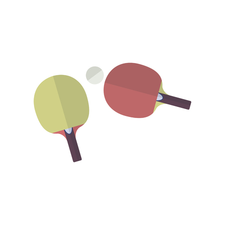 Two rackets in flat style for playing table tennis. Different tennis equipment. Vector illustration