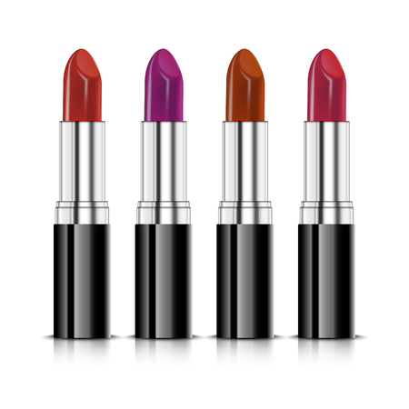 Set of four color realistic lipsticks. Red lipstick, orange lipstick, violet lipstick and pink lipsticks isolated on white background Vector illustration