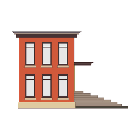 Beautiful detailed linear cityscape collection with townhouses. Small town street with victorian building facades. Template for web, graphic, game and motion design. Vector illustration Vetores
